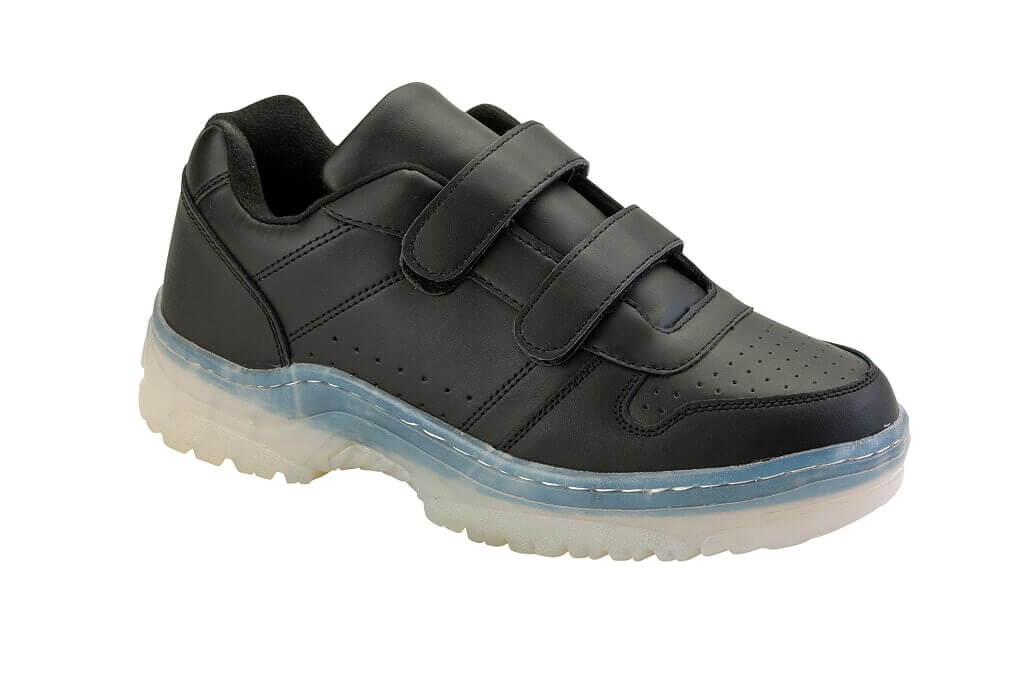 Clear Sole Leather Velcro Sneakers