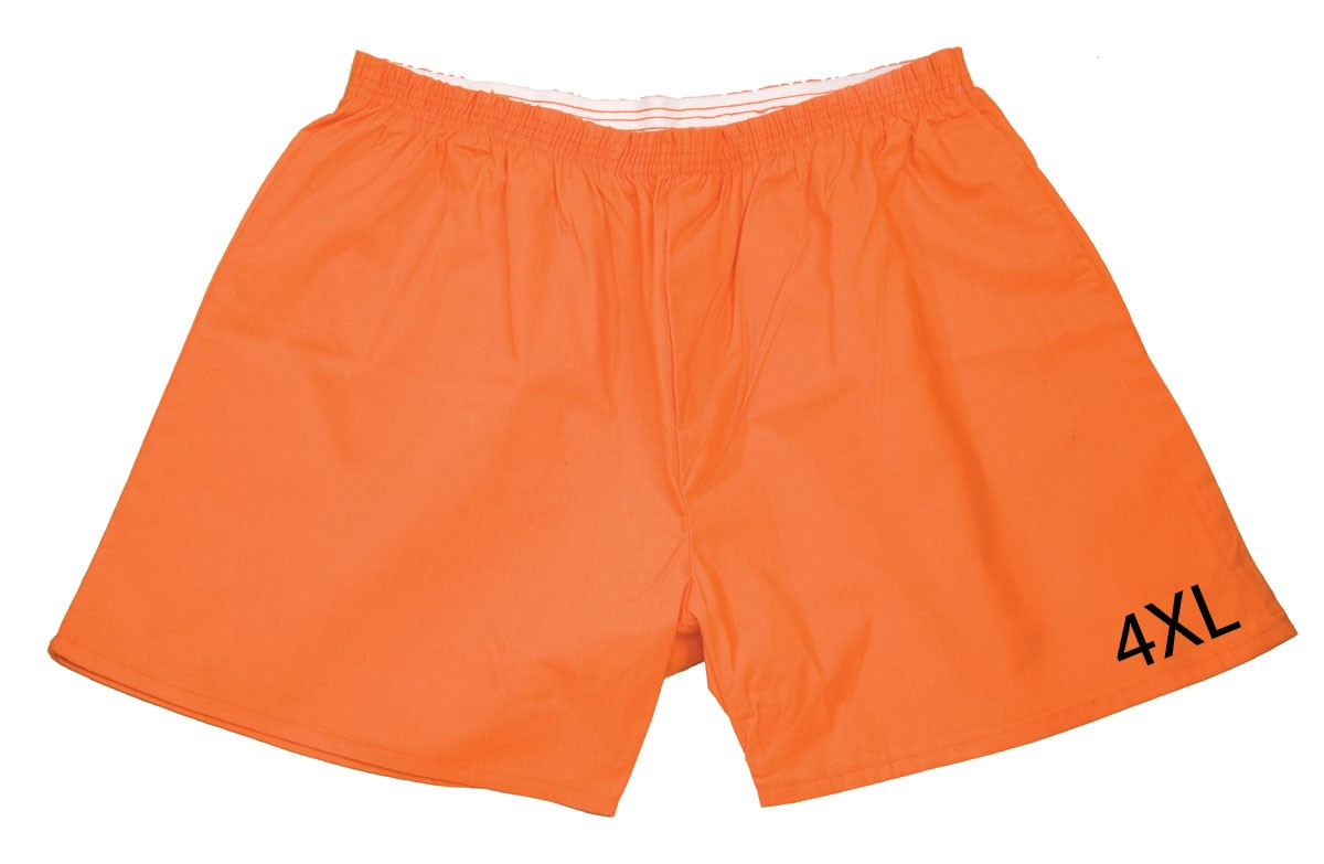Orange Boxer With Size Printed On Leg