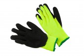 HI-VISIBILITY THERMAL LINED GLOVES WITH BLACK LATEX FINISH