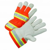 HIGH VISIBILITY LEATHER PALM WORK GLOVES