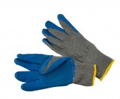 KNIT LINED GLOVES WITH BLUE LATEX COATING