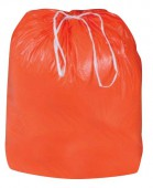 BRIGHT ORANGE TRASH BAGS W/ DRAW TAPE